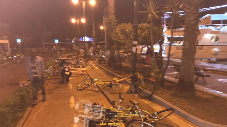 Bicycles lie strewn in the street after a quake in Kos, Greece