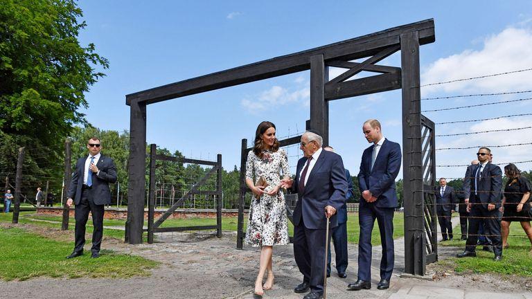 The Duchess of Cambridge with survivor Manfred Goldberg and the Duke of Cambridge with survivor Zigi Shipper