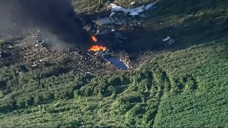 Debris was found at least five miles away from the crash site