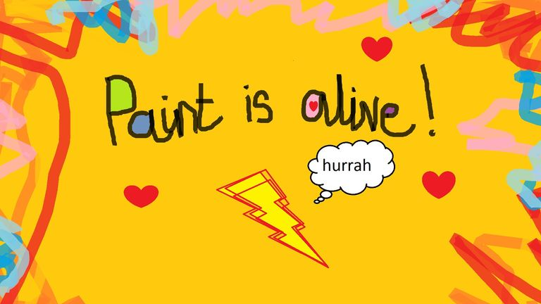 The stack of lightning bolts celebrates MS Paint's continued existence
