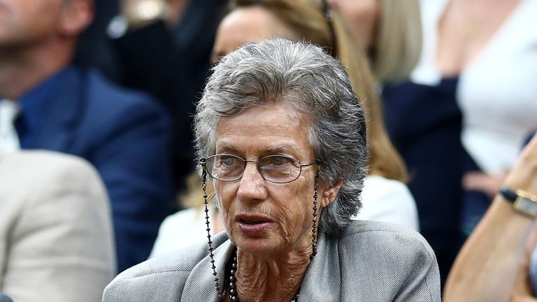 Virginia Wade watches Konta from Centre Court's Royal Box