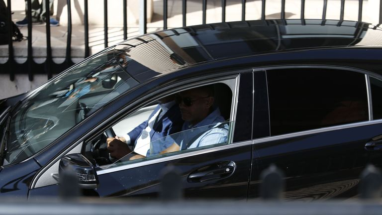Unseen Real Madrid's Portuguese forward Cristiano Ronaldo arrives in a vehicle with tinted windows to appear at a court in Pozuelo de Alarcon, a wealthy suburb of Madrid on July 31, 2017 to answer on four counts of tax evasion of 14.7 million euro ($16.5m). Procecutors allege Ronaldo took 'advantage of a company structure created in 2010 to hide income generated in Spain from his image rights from tax authorities'. / AFP PHOTO / OSCAR DEL POZO (Photo credit should read OSCAR DEL POZO/AFP/Getty I