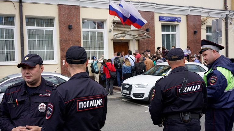 Russian police officers stand outside the campaign headquarters of Russian opposition leader Alexei Navalny on July 6, 2017, in Moscow. Russian police were blocking the Moscow office of Navalny's presidential campaign, the day before he is due to be freed from a 25-day jail term, his campaign members said. / AFP PHOTO / Maxim ZMEYEV (Photo credit should read MAXIM ZMEYEV/AFP/Getty Images)