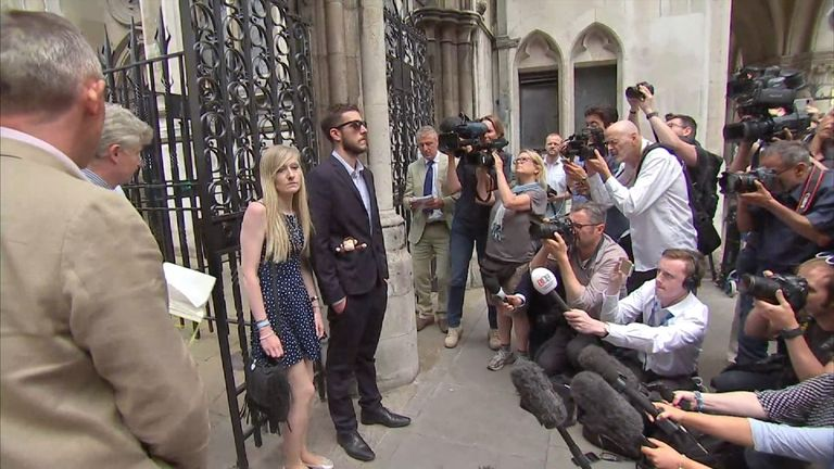 Charlie's parents leave court