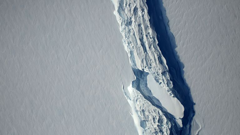 An aerial view of the rift in the Larsen C ice shelf in November