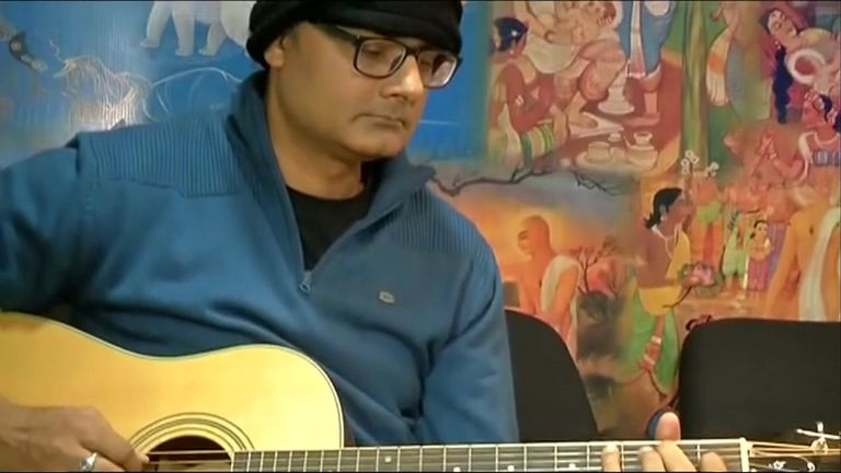 Mr Prasad playing his instrument after the successful operation