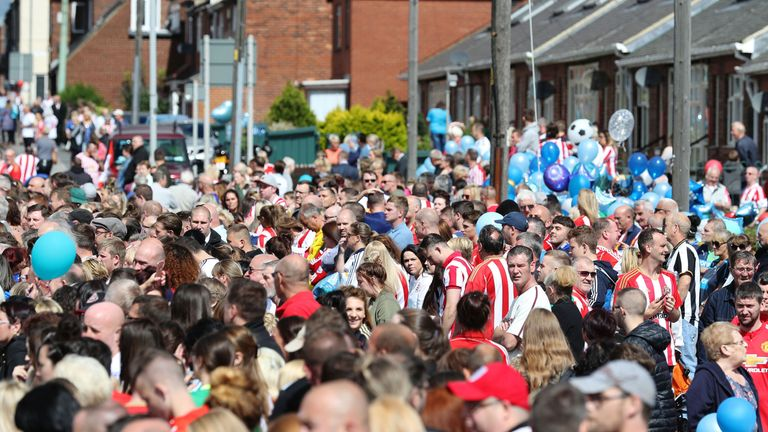 Mourners line the streets ahead of the funeral of Bradley Lowery