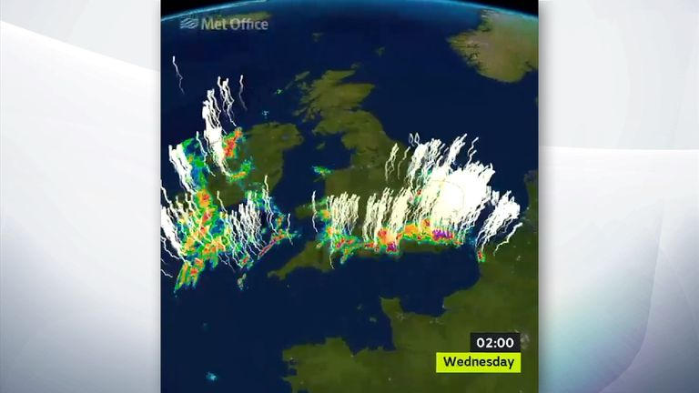 A lightning map of the UK on Tuesday night. Pic Met Office