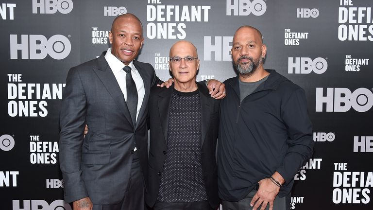NEW YORK, NY - JUNE 27: Dr. Dre, Jimmy Iovine and Allen Hughes attend 'The Defiant Ones' premiere at Time Warner Center on June 27, 2017 in New York City. (Photo by Michael Loccisano/Getty Images)