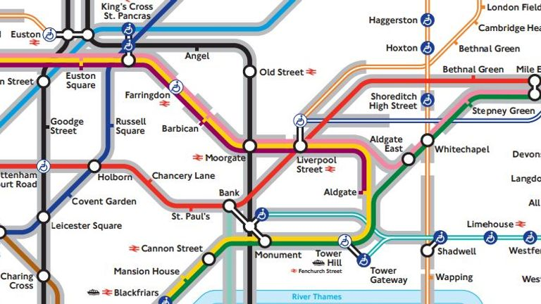 Angel London Map.New Tube Map Helps Anxious Travellers Avoid Tunnels Uk News Sky News
