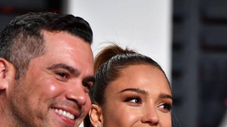 Producer Cash Warren (L) and actor Jessica Alba