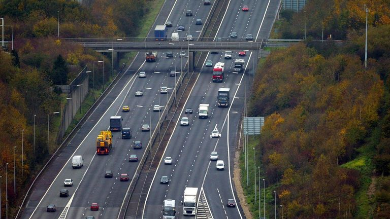 An aerial view of the M25 Motorway