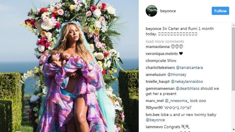 Beyonce posted the image on Instagram to mark a month since the twins were born