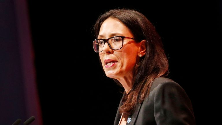 Shadow Secretary of State for Work and Pensions Debbie Abrahams speaks at the Labour conference