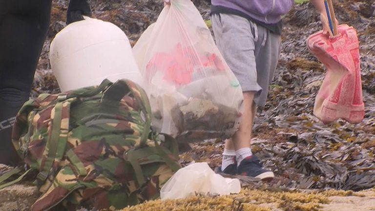 Rubbish in the water around the Jurassic coastline of Scarborough