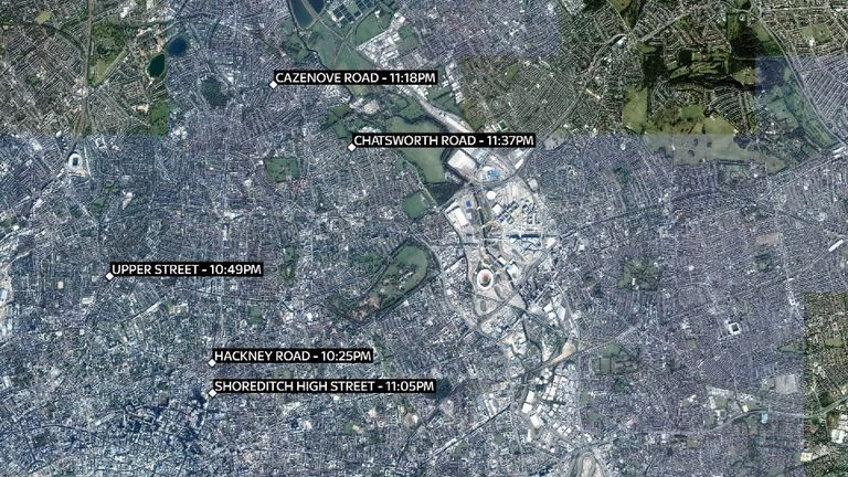 Four attacks took place in east London, and one in north London