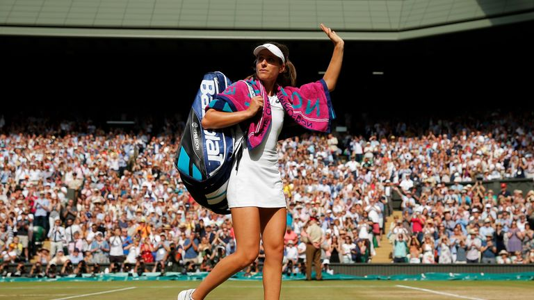 LONDON, ENGLAND - JULY 13: Johanna Konta of Great Britain acknowledges the crowd in defeat after the Ladies Singles semi final match against Venus Williams of The United States on day ten of the Wimbledon Lawn Tennis Championships at the All England Lawn Tennis and Croquet Club at Wimbledon on July 13, 2017 in London, England. (Photo by Pool/Getty Images)