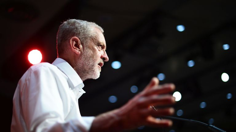 Jeremy Corbyn delivers a speech during his campaign in Scotland