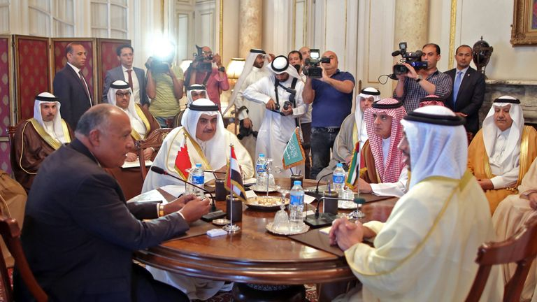 Egyptian Foreign Minister Sameh Shoukry (L), Bahraini Foreign Minister Khalid bin Ahmed al-Khalifa (2nd-L), Saudi Foreign Minister Adel al-Jubeir (2nd-R), and UAE Minister of Foreign Affairs and International Cooperation Abdullah bin Zayed Al-Nahyan (R)