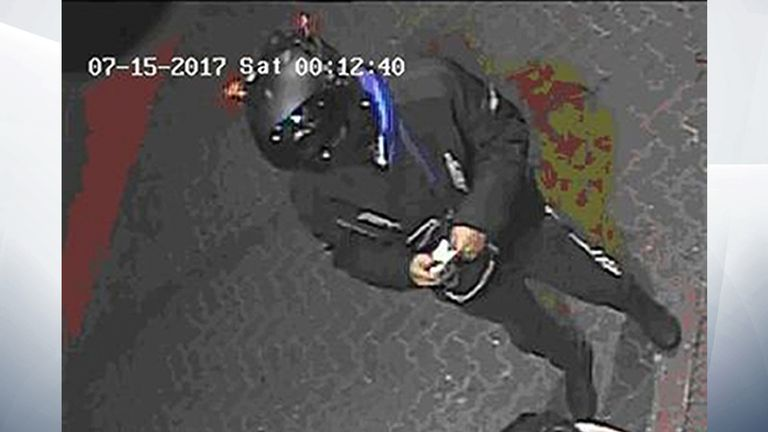 A CCTV still image of one of the two suspects wanted over the alleged murder of Danny Pearce.