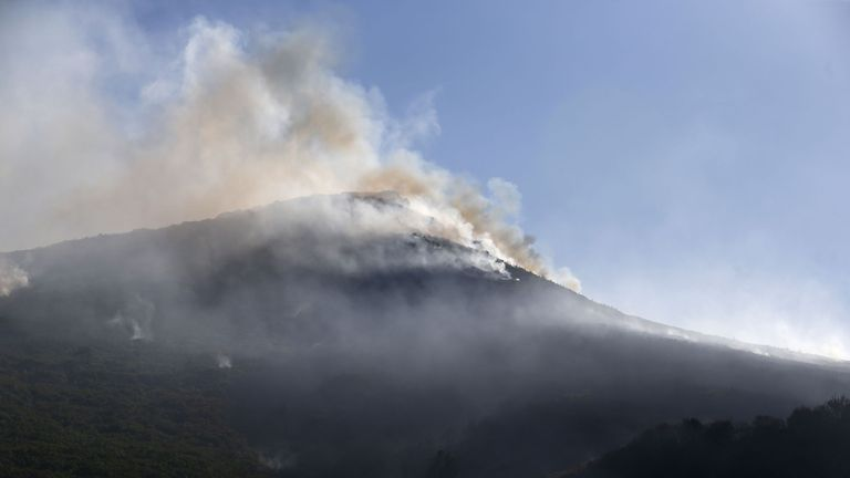 Smoke rising from a fire in Biguglia on the French Mediterranean island of Corsica