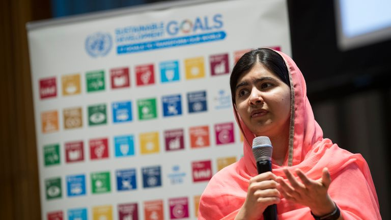 Malala Yousafzai speaks during a ceremony
