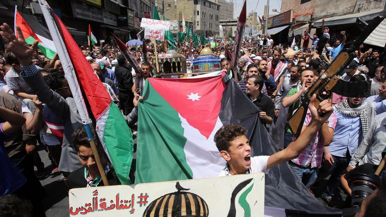 Protesters in Amman