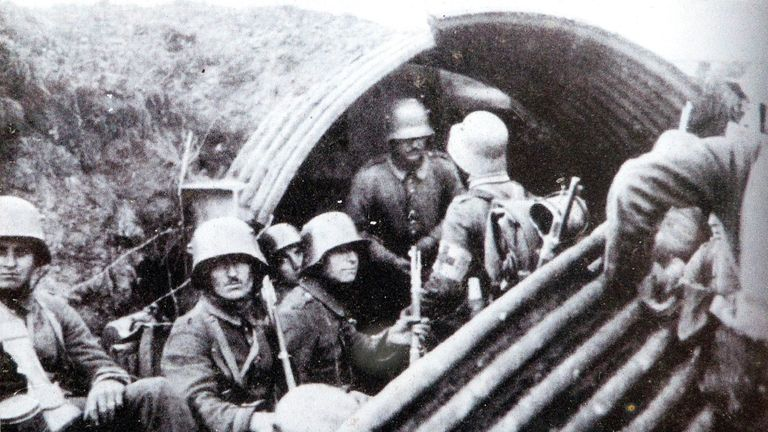 German soldiers in a trench tunnel protected with metal sheets. Pic: SeM/REX/Shutterstock