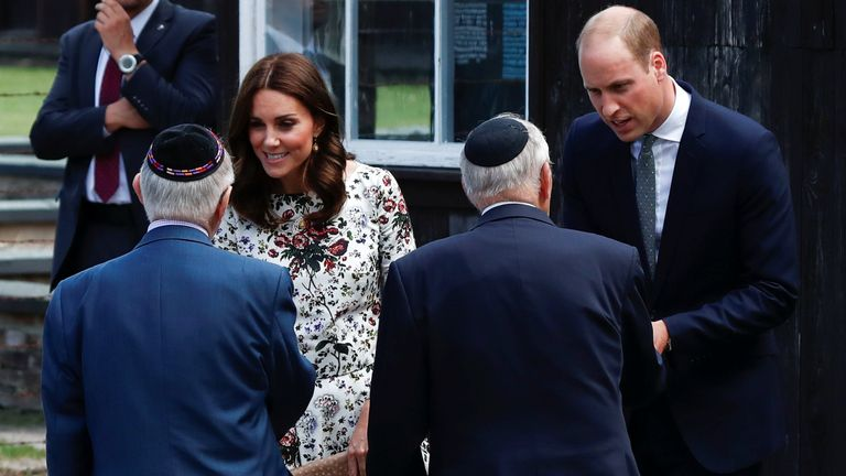 Prince William and Catherine meet with Holocaust survivors during their visit at the museum