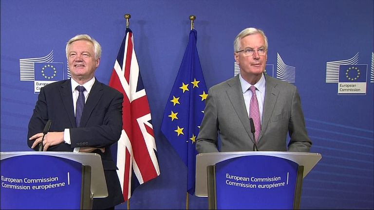 David Davis smiles as Michel Barnier talks at the start of Brexit talks