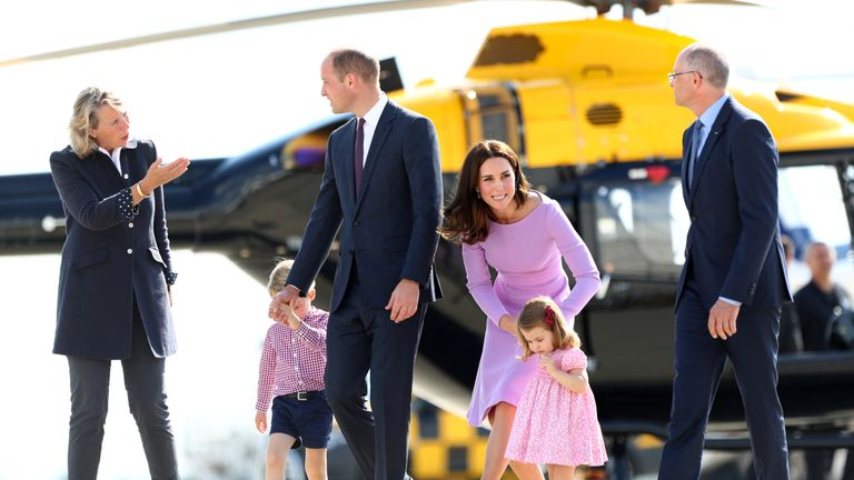The family arrive in Hamburg , where the helicopters meet with Prince George's approval