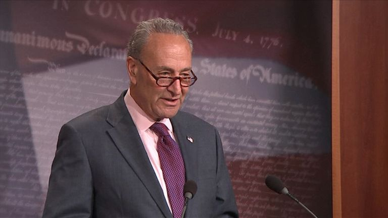 Chuck Schumer praised senator McCain for voting against his party