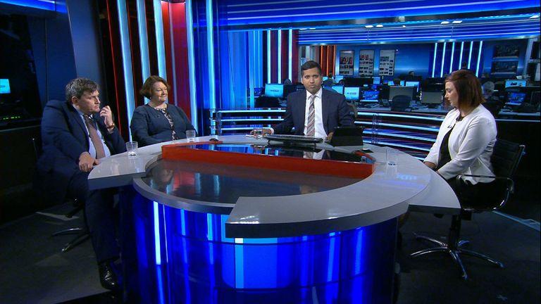 Faisal Islam with PMQs panel in the studio.