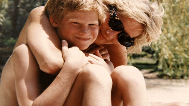 The Princes looked through photographs from an album put together by Diana