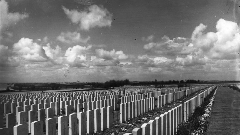 circa 1925:  A cemetery where troops killed in battle at Passchendaele are buried