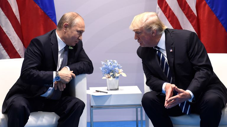 Donald Trump and Vladimir Putin meet at the G20 in July