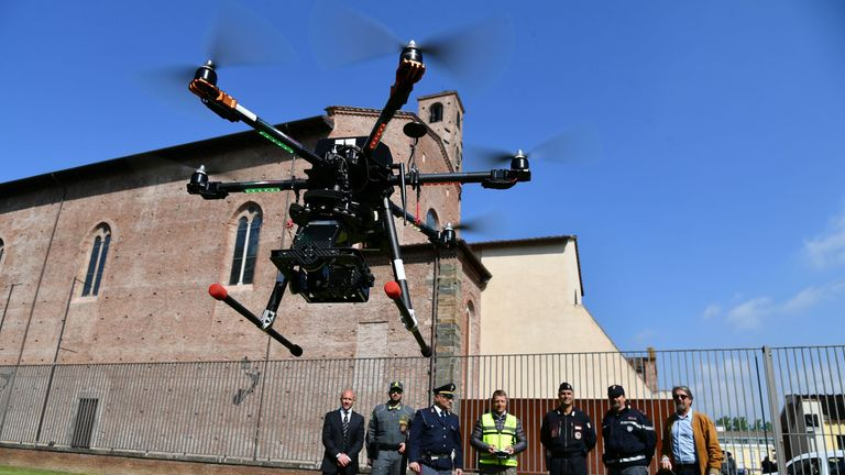 Police used drones to secure the area of the G7 summit in April