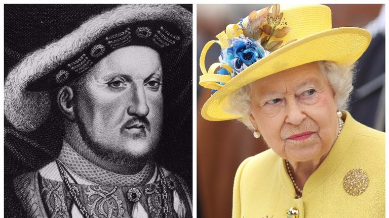 King Henry VIII (l) and Queen Elizabeth (r)