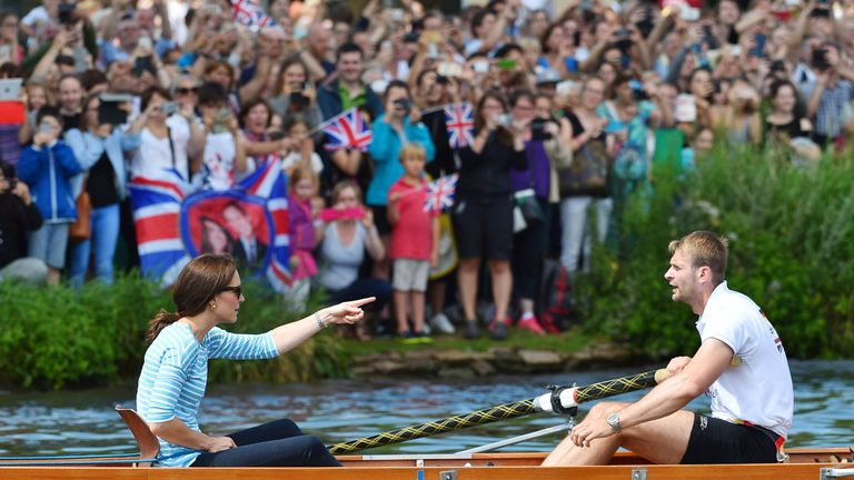 The Duchess of Cambridge was joined in her boat by Olympic Gold medalist Filip Adamski