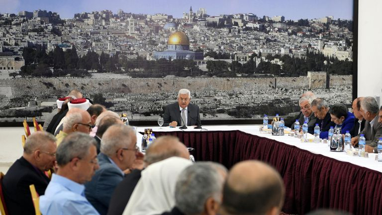 Palestinian President Mahmoud Abbas attends a meeting with the Palestinian leadership in the West Bank city of Ramallah