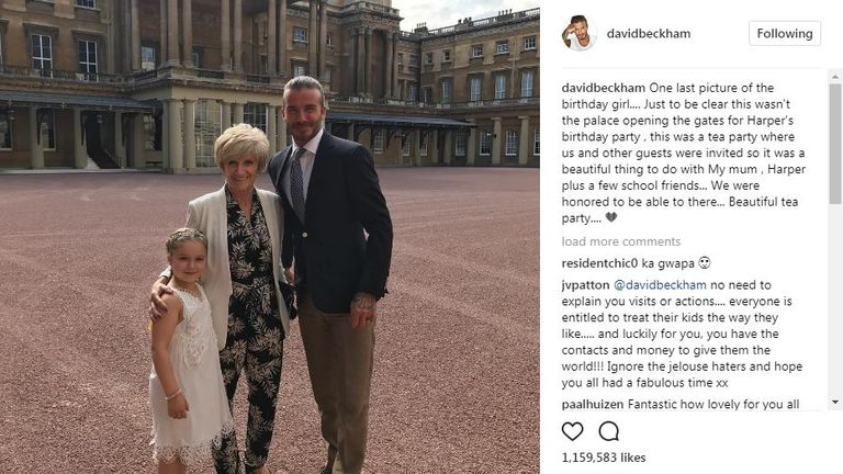 David's last Instagram post from the party, thanking the palace for 'opening the gates to the birthday party'