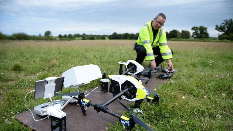 An officer from Devon & Cornwall Police prepares a DJI Inspire 1s drone