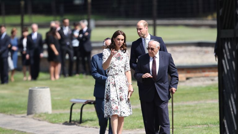 Prince William and Catherine talk with former prisoners from the Stutthof concentration camp