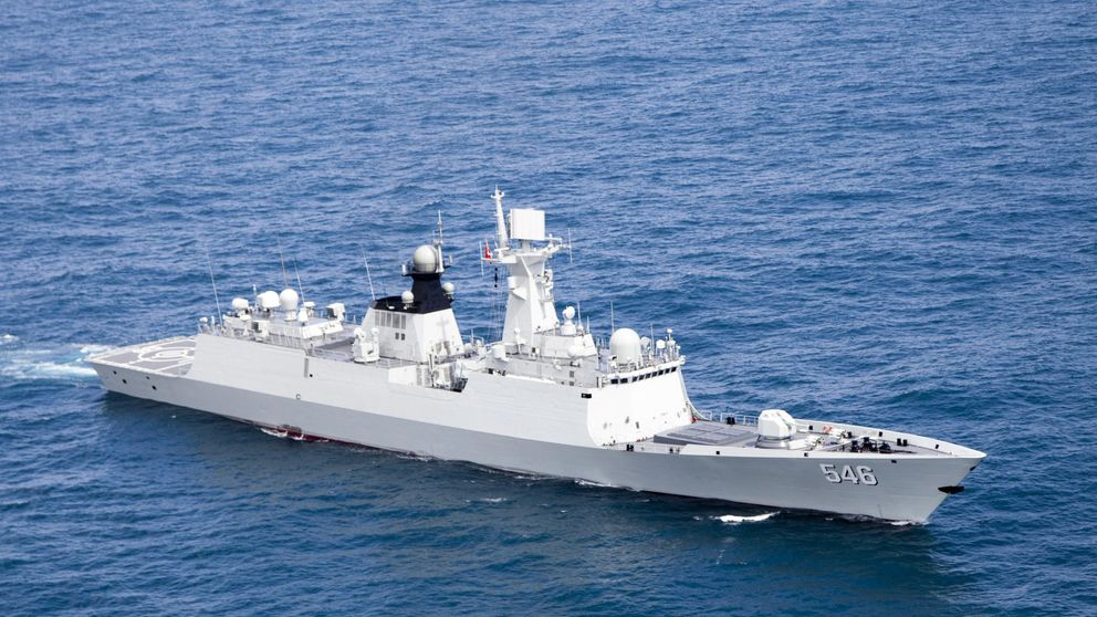 Chinese missile frigate, the Yancheng, sailing in a undisclosed location