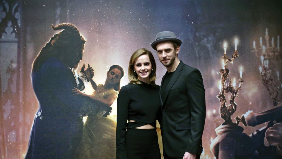Emma Watson and Dan Stevens during a photo call with the cast of Beauty and the Beast, at The Corinthia Hotel, London