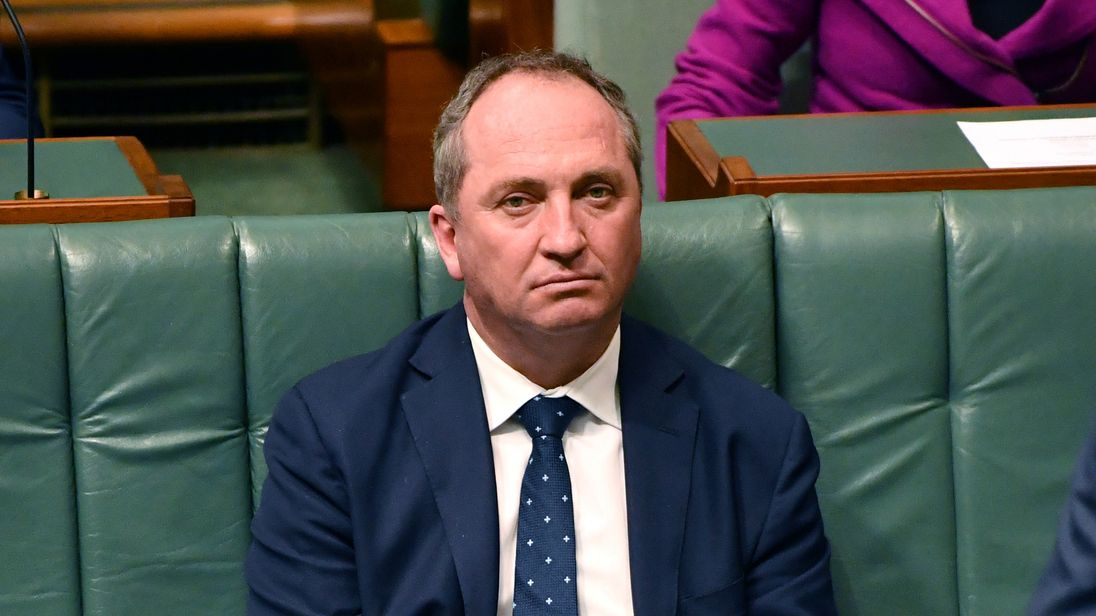 Australia's deputy prime minister Barnaby Joyce in the country's House of Representatives in Canberra
