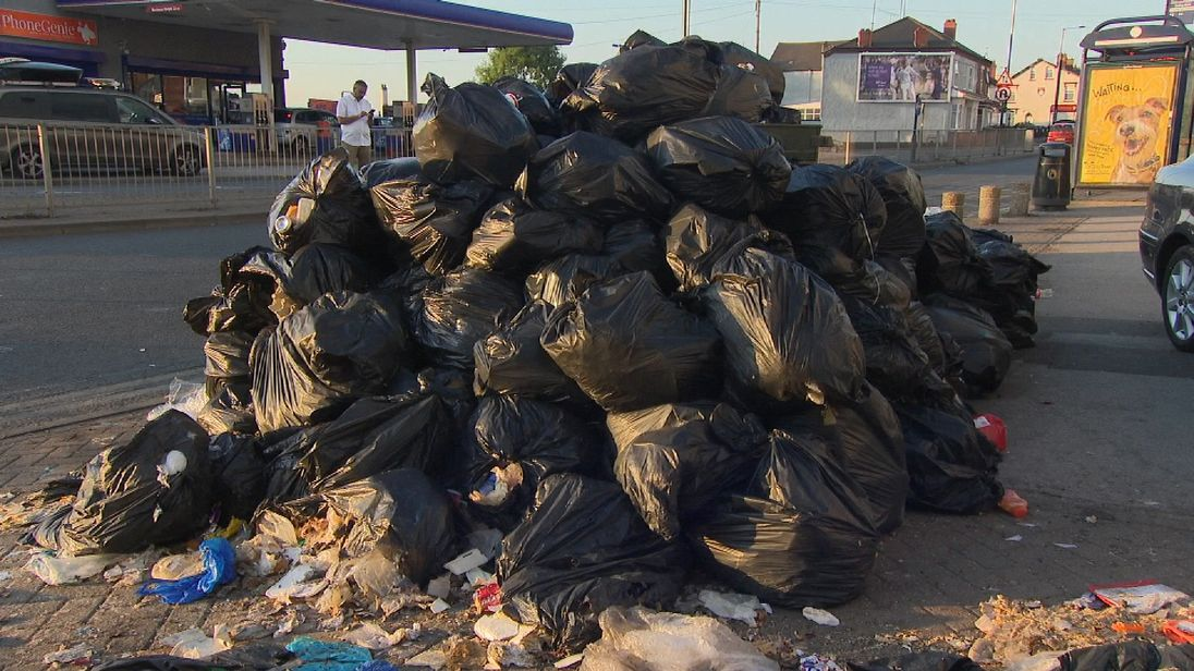 A mountain of bin bags in Birmingham