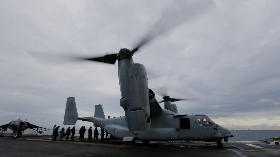 The incident involved an MV-22 Osprey which had been used in a joint military training exercise