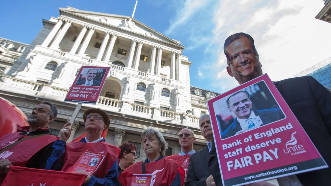 Striking workers and protesters outside the Bank of England