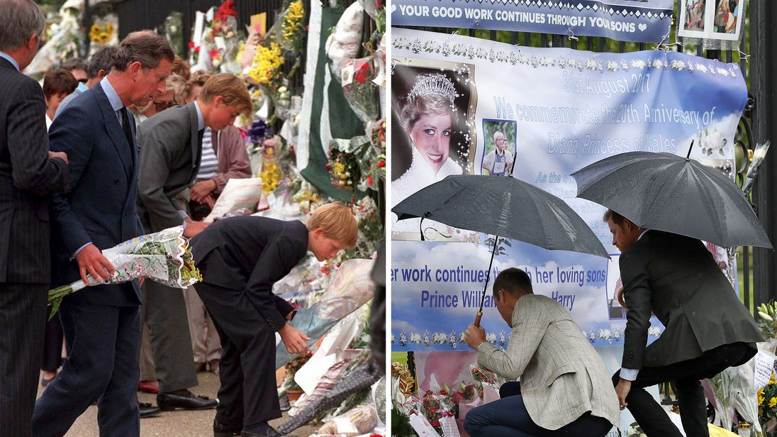 Prince William and Prince Harry look at tributes to their late mother Princess Diana 20 years apart